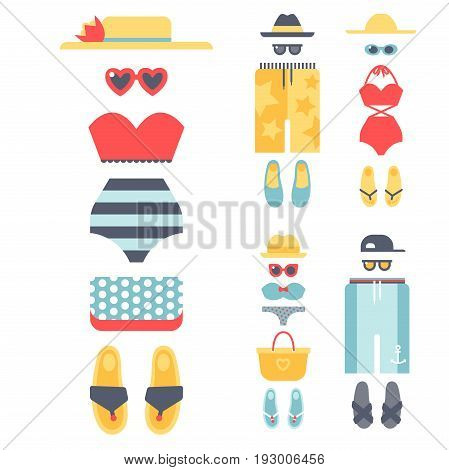 Beachwear bikini cloth fashion looks vacation lifestyle women collection sea light beauty clothes vector illustraton. Travel different flat vector summer male female swimsuit icons.