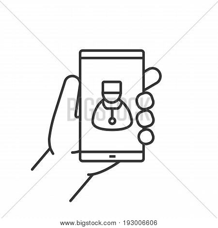 Family doctor. Hand holding smartphone linear icon. Thin line illustration. Smart phone medical app contour symbol. Vector isolated outline drawing