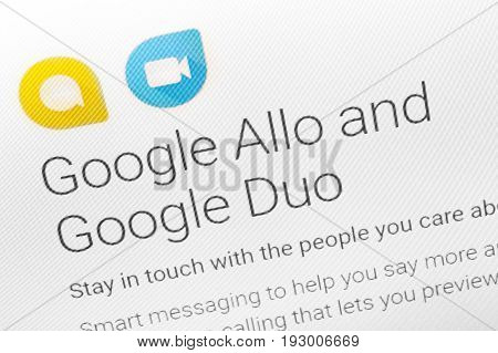 Paris, France - June 14 2017 : Close-up On Google Allo And Duo Applications For Android Phones And T