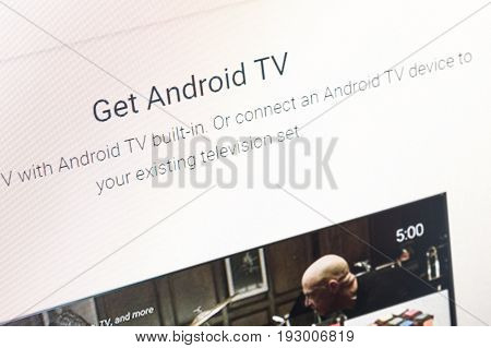 Paris, France - June 14, 2017 :close-up On Google Android Tv. Google Is An American Multinational Co