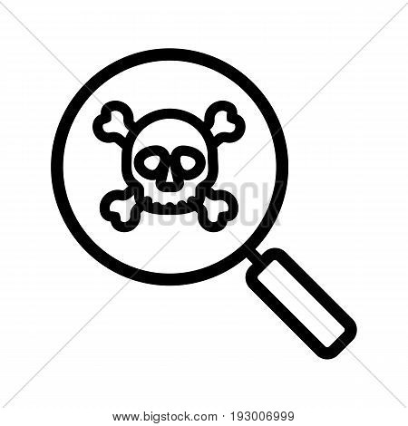 Virus research linear icon. Thick line illustration. Magnifying glass with skull and crossbones contour symbol. Vector isolated outline drawing