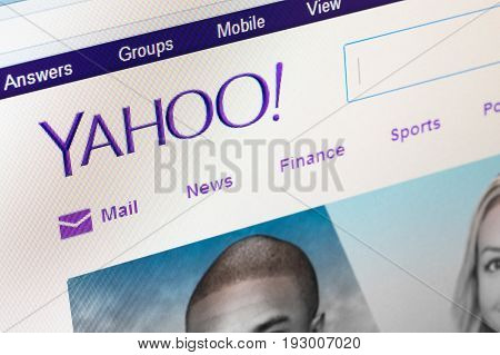 Paris, France - June 14 2017 : The Homepage Of The Official Website For Yahoo, The American Multinat