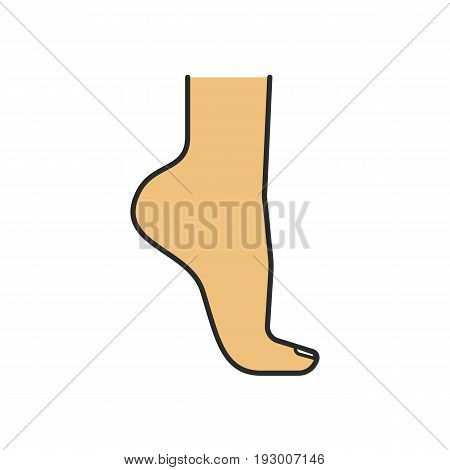 Woman's foot standing on tiptoe color icon. Isolated vector illustration