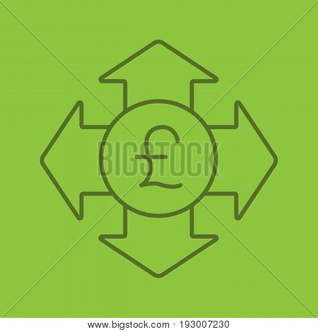 Money spending color linear icon. Great Britain pound with all direction arrows. Expanses. Thin line contour symbols on color background. Vector illustration