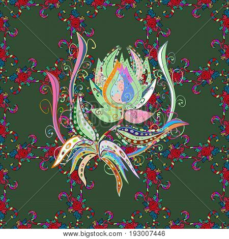 Seamless exotic pattern with many pink tropical flowers. Blooming jungle. Motley vector illustration.
