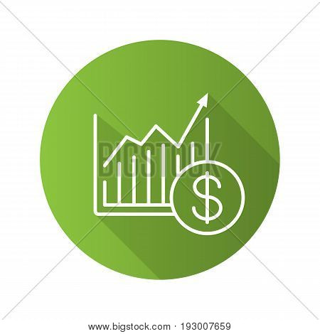 Market growth chart flat linear long shadow icon. Statistics diagram with dollar sign. Vector outline symbol