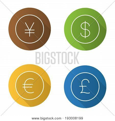 National currencies flat linear long shadow icons set. US dollar, Great Britain pound, Japanese yen, euro signs. Vector outline illustration
