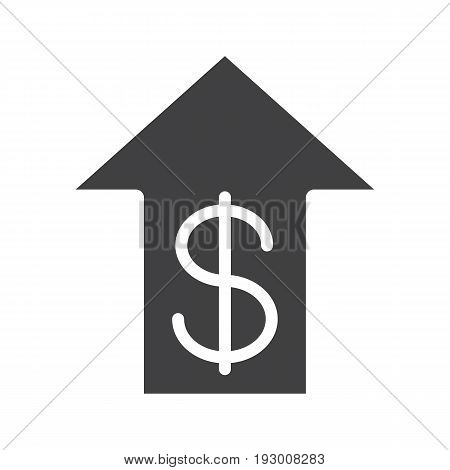 Dollar rate rising glyph icon. Silhouette symbol. USA dollar with up arrow. Negative space. Vector isolated illustration