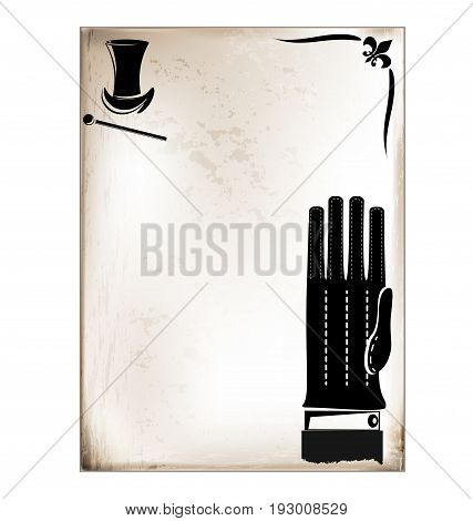 dark background, vintage beige-colored card with retro stylized mans glove and hat