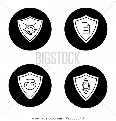 Protection shields glyph icons set. Safe bargain, personal documents, startup projects, people protection. Vector white silhouettes illustrations in black circles