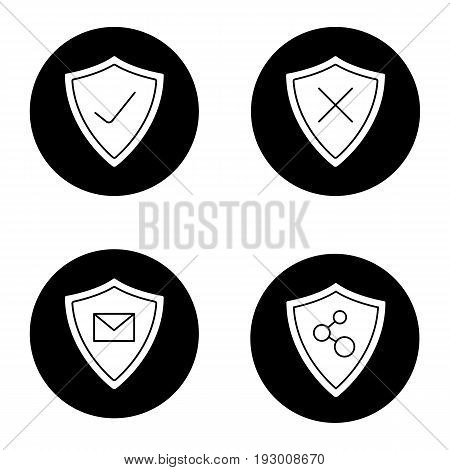 Protection shields glyph icons set. Email and network connection security. Approved and denied protection. Vector white silhouettes illustrations in black circles