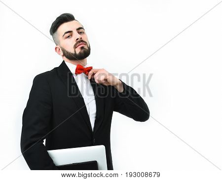 Successful Businessman With Beard, Arrogant Face Expression And Computer