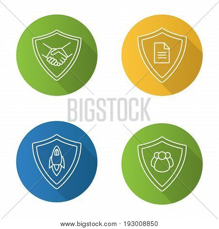 Protection shields flat linear long shadow icons set. Safe bargain, personal documents, startup projects, people protection. Vector line illustration