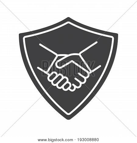 Safe bargain glyph icon. Silhouette symbol. Protection shield with handshake. Negative space. Vector isolated illustration