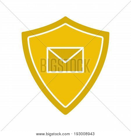 Email security glyph color icon. Sms message inside protection shield. Spam protection. Silhouette symbol on white background. Negative space. Vector illustration
