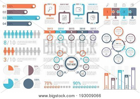 Set of most useful infographic elements - bar graphs human infographics pie charts steps and options workflow puzzle percents circle diagram timeline vector eps10 illustration