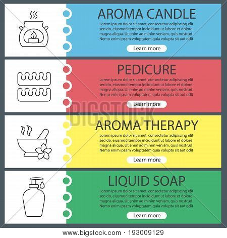Spa salon web banner templates set. Aromatherapy candle, pedicure separators, mortar and pestle, liquid soap. Website color menu items with linear icons. Vector headers design concepts