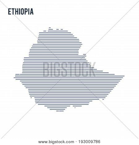 Vector Abstract Hatched Map Of Ethiopia With Lines Isolated On A White Background.