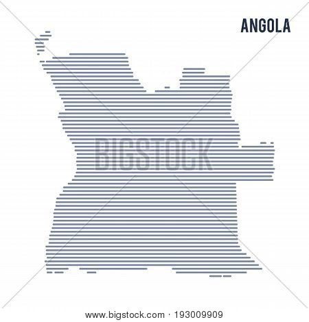 Vector Abstract Hatched Map Of Angola With Lines Isolated On A White Background.