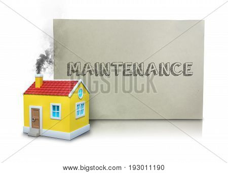 Digital composite image of smoke emitting from model home chimney by maintenance placard against white background