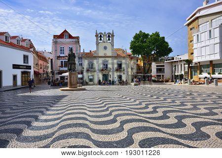 Little Square In Cascais Portugal.
