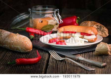 Traditional Czech Sausages  In Vinegar With Onion