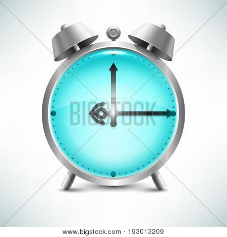 Vector stylized image of an alarm clock with the hands and dial marine aqua water.