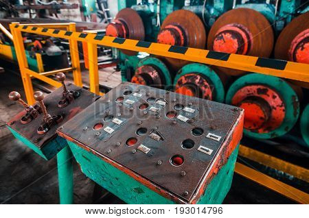 Metal rolling machine. Metallurgical plant. Texture of metal. industry. Background