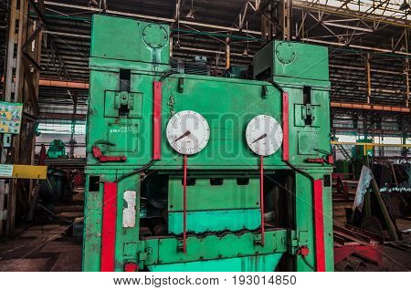 Metallurgical plant. Texture of metal. Metal industry. Background