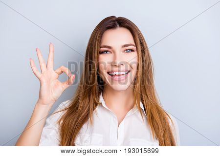 Well Done! Young Attractive Entrepreneur Is Very Excited And Showing Ok Sign, Wearing Smart Outfit,