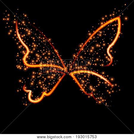 Abstract conceptual design - a fiery butterfly shape.Vector illustration.