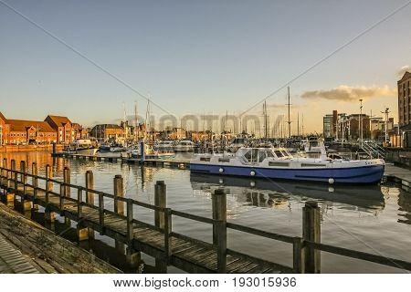 Kingston upon Hull/England - January 9 2011: Boats moored in Hull Marina in England