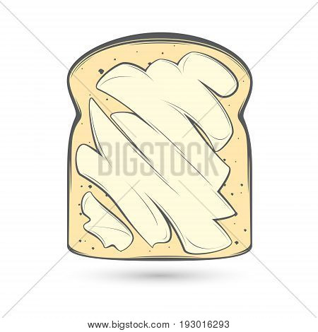 Vector stylized image of a slice of bread in a toast spread with a thick layer of butter.