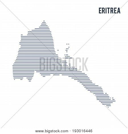 Vector Abstract Hatched Map Of Eritrea With Lines Isolated On A White Background.