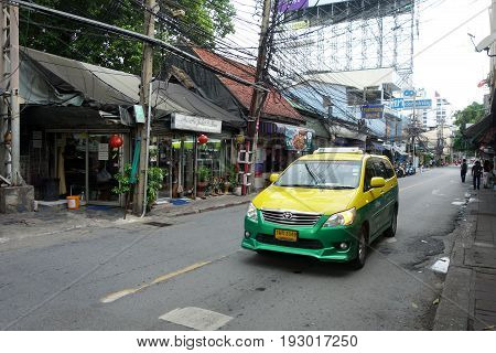 Typical Taxi Ride In Downtown Area Of Bangkok