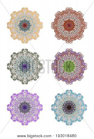 Set of geometric circle lace ornaments in different color variants. Symmetric rosette design elements in vintage style.