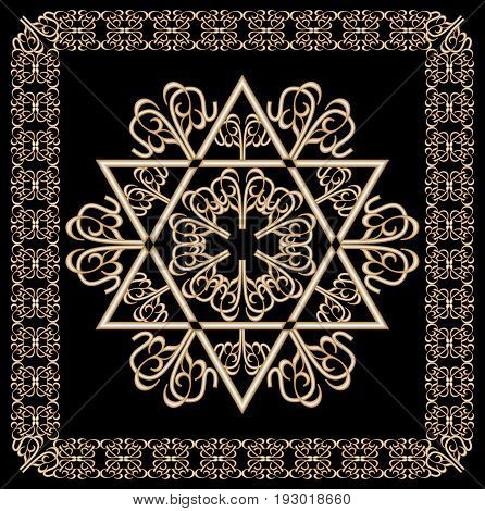 Luxury golden ornament with David star motif in filigree gold frame on black background. Jewish religious and national hexagram symbol named in hebrew magen.