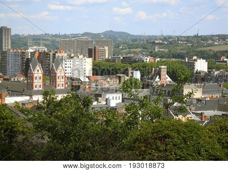 Stunning Cityscape of Liege View from the Bueren Mountain, Wallonia Region in Belgium