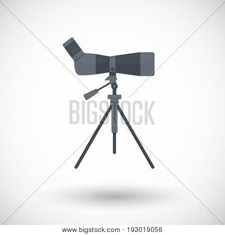 Bird watching monocular on tripod flat vector icon flat design of travel hobby and photo shooting object with round shadow isolated on the white background vector illustration