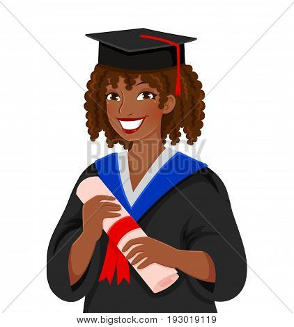 young happy colored skinned woman graduating college