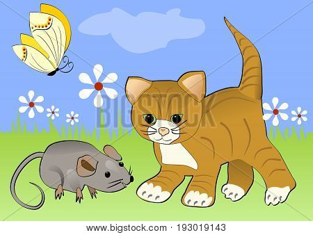 Kitten watching mouse on the green blooming meadow. Yellow butterfly flying over white flowers. Cheerful spring illustration with animals cartoon.