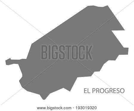 El Progreso Guatemala map grey illustration silhouette