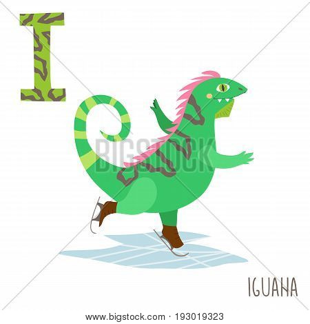 Vector kids illustration of cute animal alphabet. Letter I for the Iguana and Ice skating . Cartoon little iguana riding on the ice skates isolated on white background for child illustration, baby shower, birtday card, invitiation, T-shirt. Preschool and