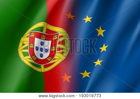 Symbol of Portugal is EU member. European Union sign with twelve gold stars on blue and Portugal national flag. Vector isolated icon