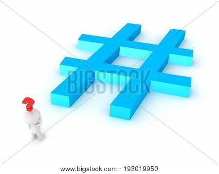3D Character Thinking Abou The Perfect Hashtag
