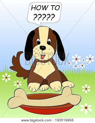 Little puppy on meadow sitting helplessly over the huge bones on red plate. Beautiful animal cartoon in eps10 vector.