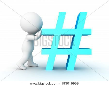 3D Character Pushing Blue Hashtag Or Pound Sign