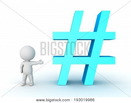 3D Character Showing Blue Hashtag Or Pound Sign