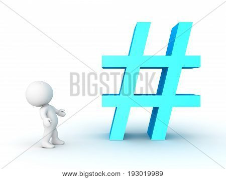 3D Character Looking Up At Pound Or Hashtag Sign