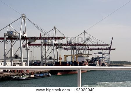 Dunkirk/France - June 12 2011: The container terminal at Dunkirk France. Major route for imports and exports from Europe.